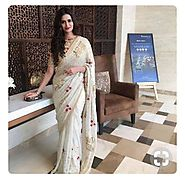 Meenakshi Dixit White Fancy Embroidery Work Georgette Bollywood Design – Mahi Fashion