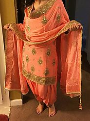 Peach Paper Silk Heavy Embroidery Work Punjabi Patiala Salwar Kameez S – Mahi Fashion