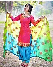 Latest Designer Red Banglori Punjabi Patiala Salwar Kameez Suits – Mahi Fashion