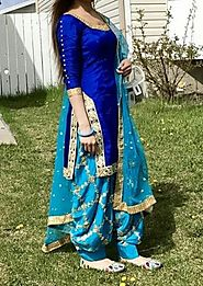 Blue New Style Beautiful Latest Designer Heavy Punjabi Patiala Salwar – Mahi Fashion