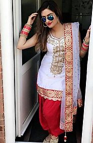 Top Latest Beautiful Designer White and Red Punjabi Patiala Salwar Sui – Mahi Fashion