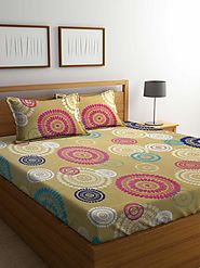 Buy Online Mafatlal Brown Cotton 144 TC Double Bed Sheet With Pillow Covers – mafatlalonline
