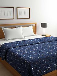 Buy Online Blue Splash Cotton Double Bed Comforter (144 TC) – mafatlalonline