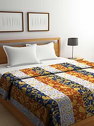 Buy Online Brown Contemporary Cotton Double Bed Comforter (144 TC) – mafatlalonline
