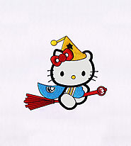 Broomstick Flying Hello Kitty Applique Embroidery Design | EMBMall