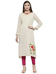 Buy Auranova by Mafatlal Cream Cotton Kurti Online – mafatlalonline