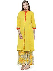 Auranova by Mafatlal Yellow Cotton Kurti – mafatlalonline