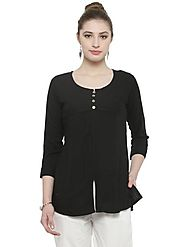 Auranova by Mafatlal Black Tunic Top – mafatlalonline