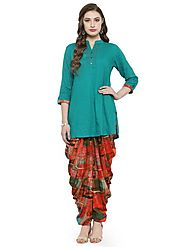 Auranova by Mafatlal Green color Rayon Patiala Set – mafatlalonline