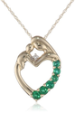 XPY 14k Yellow Gold Mother and Child Created Emerald Heart Pendant Necklace with Diamond Accent, 18""