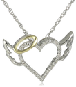 XPY Sterling Silver and 14k Yellow Gold Diamond Winged Halo Heart Pendant Necklace, 18""
