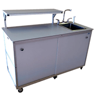 Food Service Cart with serving shelf and Portable Self Contained Sink Model: FSC-002