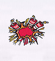 Classic Shocking Red TNT Bombs Embroidery Design | EMBMall