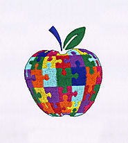 Colorful Jigsaw Apple Embroidery Design | EMBMall