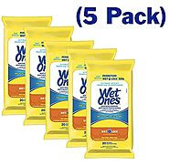 Wet Ones Wipes for Hands & Face, 20 Count Travel Pack (Pack of 5) 100 Wipes Total (Anti Bacterial) (Citrus)