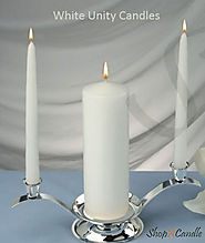 White Unity Candles Set With Holder For Wedding - Shopacandle