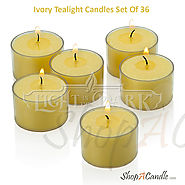 Ivory Tealight Candles Set Of 36 With Clear Cups At Shopacandle