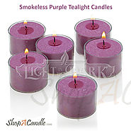 Smokeless Purple Tealight Candles With Holder On Shopacandle