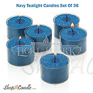 Shop Navy Tealight Candles Set With Clear Cup At Shopacandle