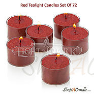 Red Tealight Candles With Clear Cup Set Of 72 On Shopacandle