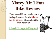 Marcy Air 1 Fan Bike Review