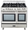 "Verona VEFSGE365DSS 36"" Double Oven Dual Fuel Range, 5 Sealed Gas Burners, 2.4 cu. ft. Oven Capacity, Storage Drawer,..."