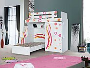 Ritzy Designer Bunk Bed: Stairs with chest of drawers, 2 door wardrobe and children's bed