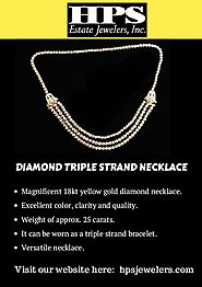 Diamond Tripple Stand Necklace by HPS Jewelers