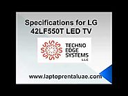 Specifications for LG 42LF550T LED TV