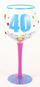 Wine Glasses Hand Painted Milestone 40th Birthday Wine Glass, Holds 18 Oz - In A Gift Box : Amazon.com : Kitchen & Di...