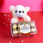 Teddy Bear with Ferrero Rocher Chocolate Box