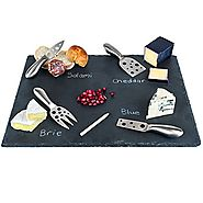 Large Slate Cheese Board and Stainless Steel Cutlery Includes 4 Knives plus a Soap Stone Chalk