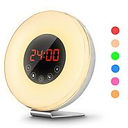 Wake Up Light Sunrise Simulation Alarm Clock with 6 Nature Sounds or music