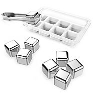 Kollea Stainless Steel Reusable 8 Ice Cubes Chilling Stones with Tongs for Whiskey Wine