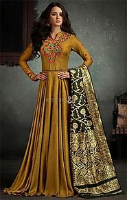 Buy Challenging Brown Stitched Viscose Designer Gown Dress For Mehendi