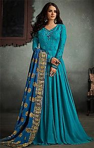 Buy Charismatic Blue Stitched Flared Viscose Gown With Embroidery