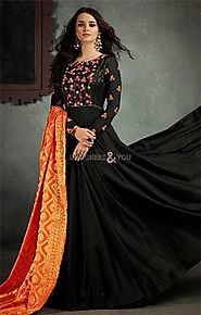 Buy Charming Black Flared Floral Embroidered Viscose Party Gown Dress