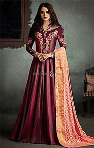 Buy Classic Maroon Stitched Floral Floor Touch Engagement Gown Dress