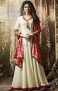Moccasin Cream Resham Worked Bollywood Fashion Georgette Gown Dress