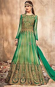 Buy Ornamented Chain Stitch Worked Green Gown Best For All Body Type