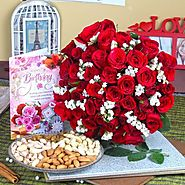 Send Red Roses with Assorted Dryfruit and Birthday Greeting Card Same Day Delivery - OyeGifts