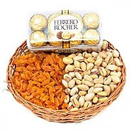 Send FERRERO ROCHER AND DRY FRUITS BASKET Same Day Delivery - OyeGifts