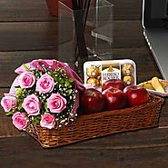 Buy / Send Pink Rose Bouquet with Apple and Ferrero Rocher Gifts online Same Day & Midnight Delivery across India @ B...
