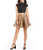 Jodi Kristopher Lace Top with Metallic Skirt Two-Piece Dress | Dillards