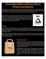 Carrier bags offer an effective way to promote your business by hotlinepromoproduct - issuu