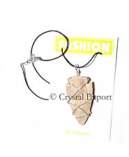 Buy Agate Stone Arrowheads Wrapped Necklace Online