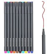Huhuhero Fineliner Color Pen Set, 0.38 mm Fine Line Drawing Pen, Porous Fine Point Markers Perfect for Coloring Book ...