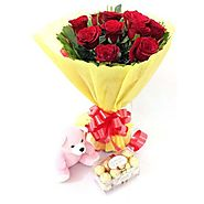 Buy/Send Red Roses Ferrero Teddy Online - YuvaFlowers.com