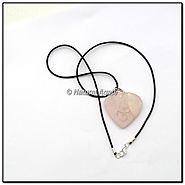 Buy Rose Quartz Heart Embossed Reiki Symbol Pendants at Natural agate