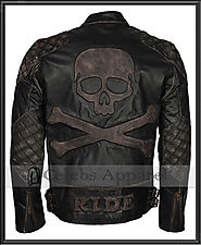 Men's Biker Distressed Black Speed Metal Skull Embossed Rider Leather Jacket